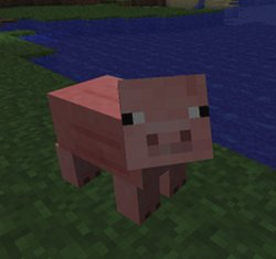 A pig in Minecraft