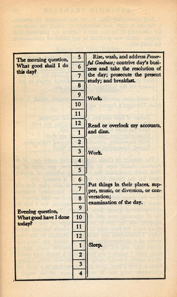 A page from the autobiography of Benjamin Franklin